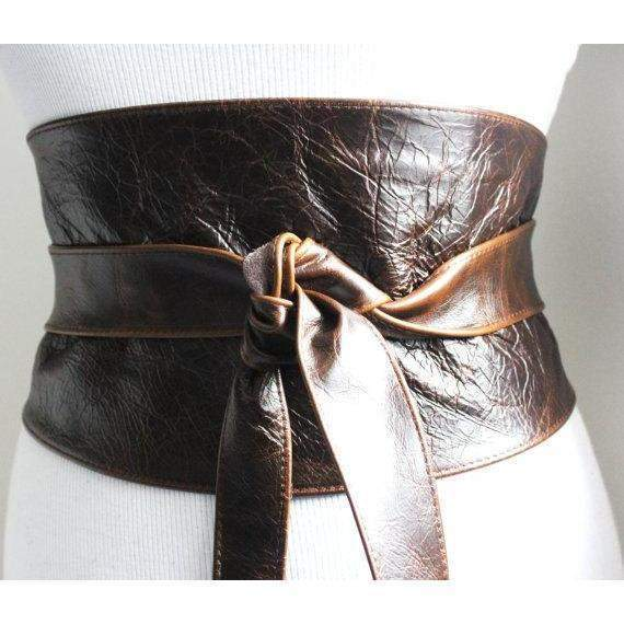 Vintage Dark Brown Leather Wide Obi Belt | Waist Corset Belt |Wide Corset Leather belt | Real Leather Belt | Various Size Belts - loveyaayaa