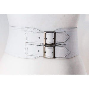 White Corset Leather Two Silver Buckle Belt - loveyaayaa
