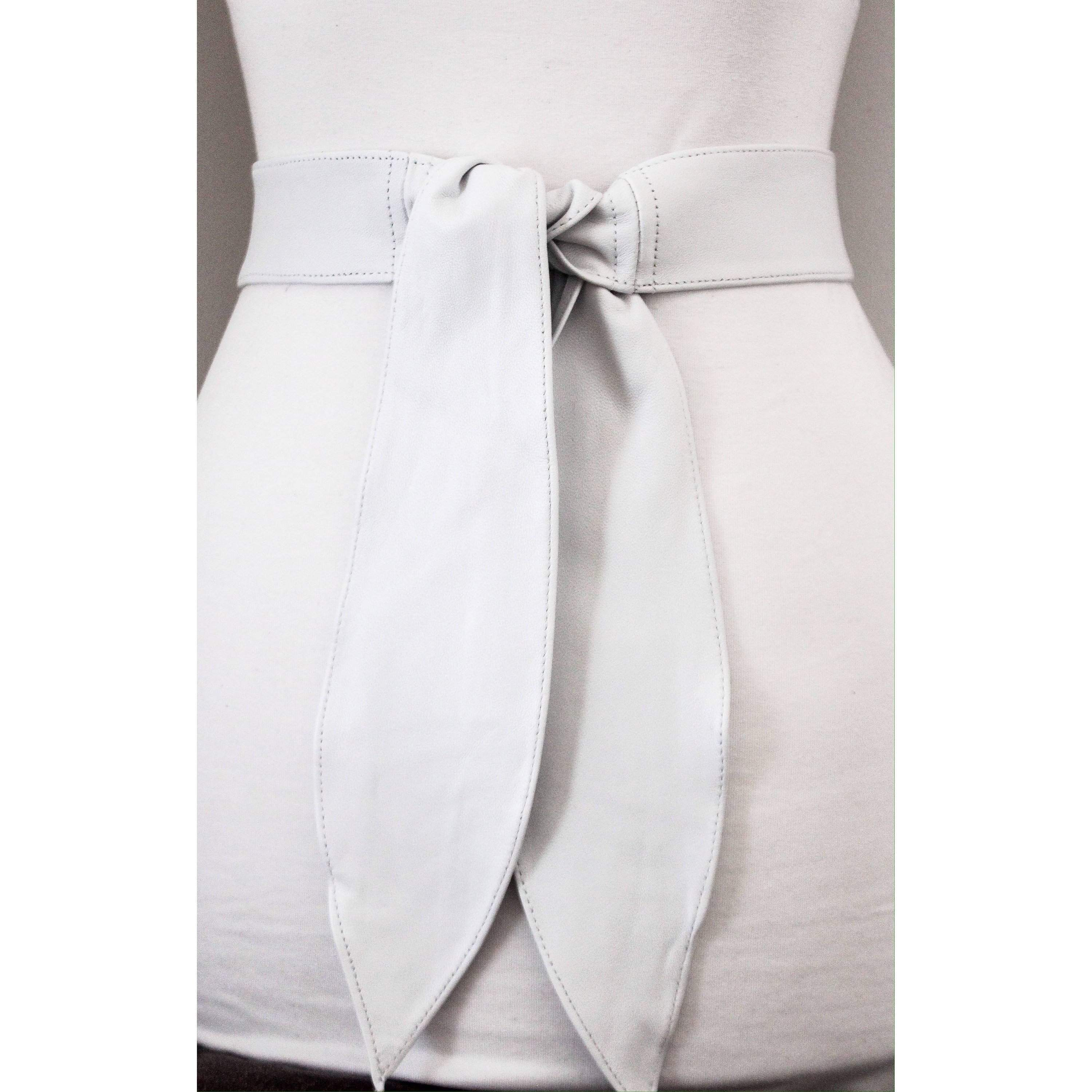 White Leather Sash Belt | Bridal Sash belt | White Leather Belt | Leather Waist Wrap Belt | Obi Belt | Plus Size Accessory | Wide Waist Belt - loveyaayaa