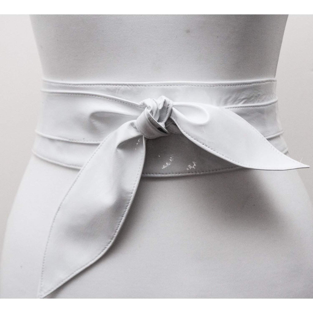 White Patent Leather Obi belt - loveyaayaa