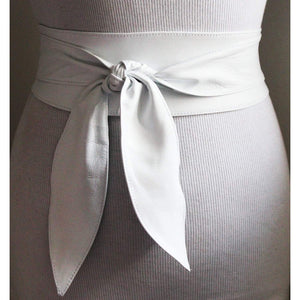 White soft Leather Obi Belt - loveyaayaa
