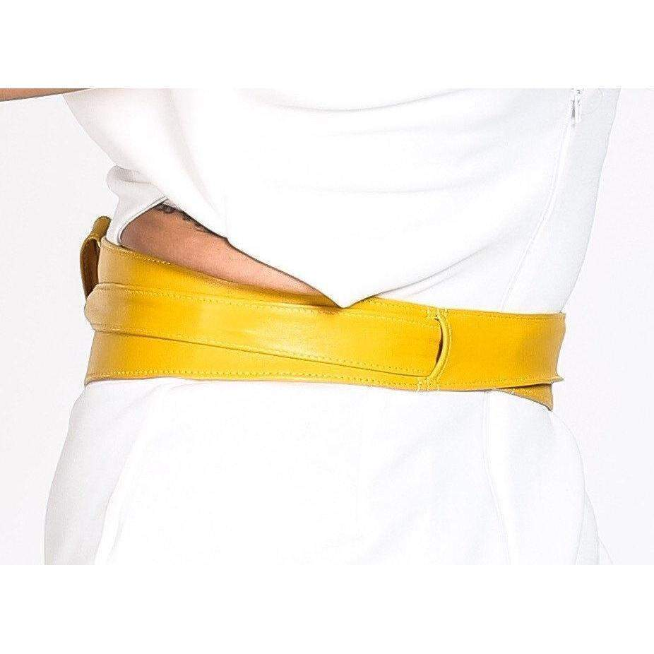 Yellow Leather Obi Belt - loveyaayaa