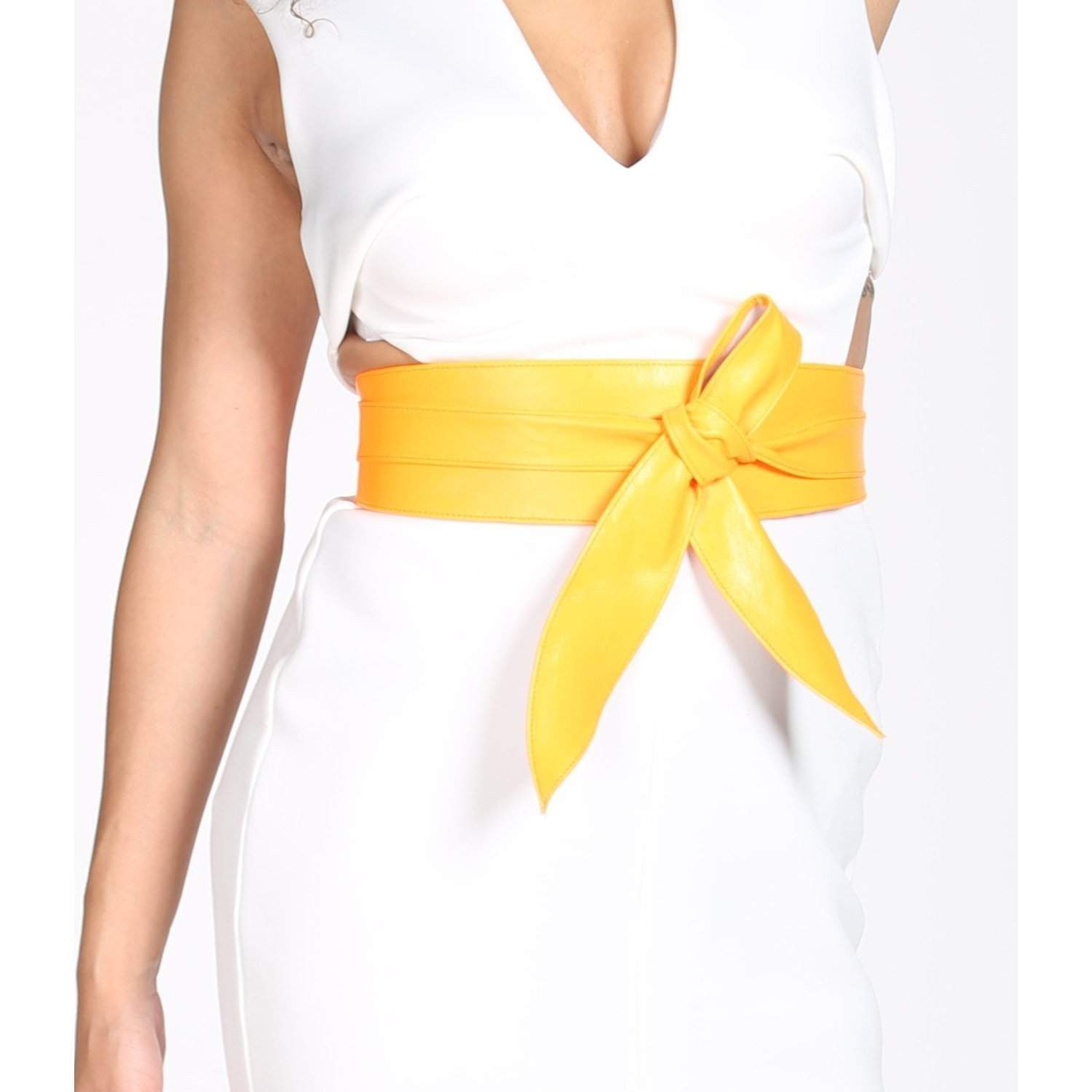 Yellow Leather wrap belt - loveyaayaa