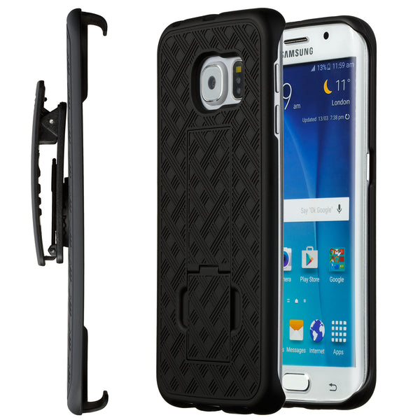 huge discount 362f5 805fd Galaxy S6 Edge Case, Moona® Shell Holster Combo Case for Samsung Galaxy S6  Edge with KickStand & Belt Clip