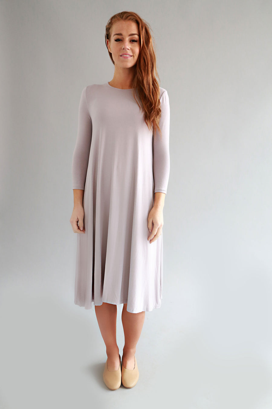 LILAC GREY BASIC DRESS - SOLIKA
