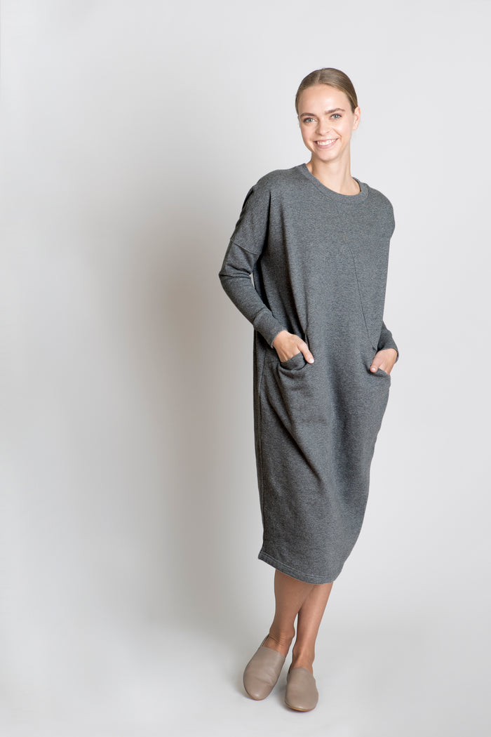 CHARCOAL NORA DRESS - SOLIKA