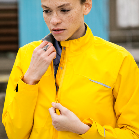 Yellow Roadster women's waterproof cycling jacket
