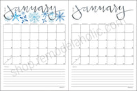 Watercolor 2021 Monthly Calendar Printable Set in 5 Sizes