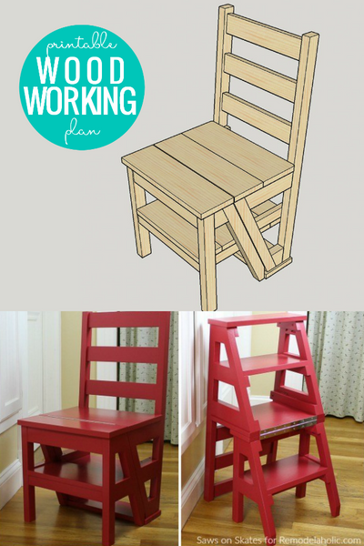 DIY Ladder Chair Woodworking Plan (Folding Step Stool Chair)