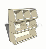 printable woodworking plan, build a DIY cubby storage toy organizer, Remodelaholic