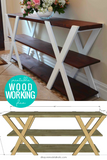 DIY Double X Farmhouse Console Table Woodworking Plans
