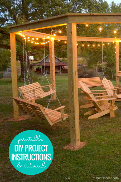 DIY Firepit Pergola for Swings (Printable Instructions)