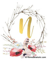 Gold & Pink Floral Twig Wreath Monogram Printable