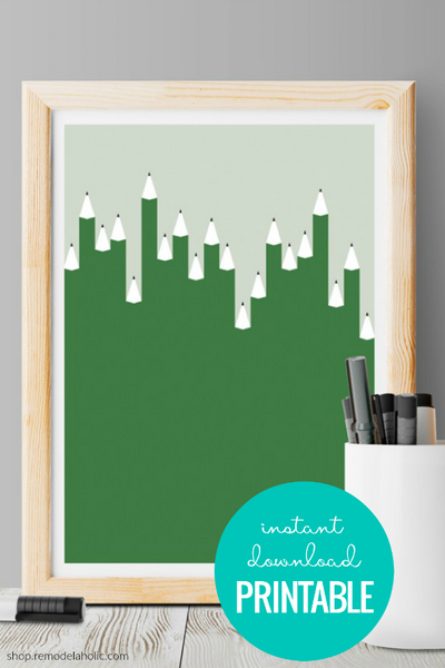 Abstract Green Pencils | Modern Wall Art Printable