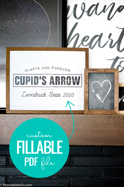 Cupid's Arrow Custom Date Anniversary Art Printable BUNDLE for Valentine's Day