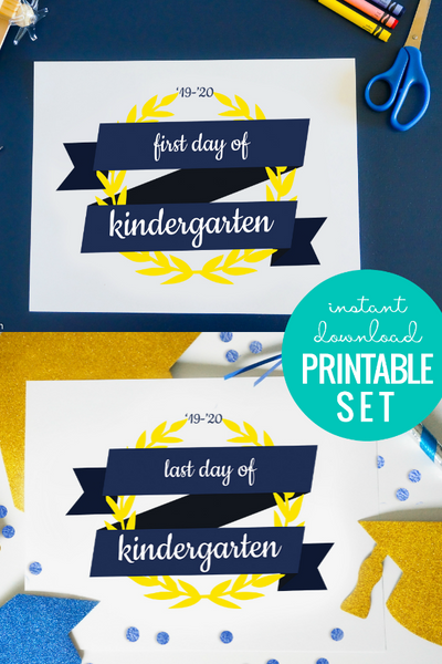 first and last day of school sign printable, blue ribbon and yellow laurel wreath design