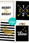 Black and Gold Christmas Gallery Wall Printable Art Set