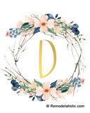 Blue Floral Twig Wreath + Gold Monogram Printable