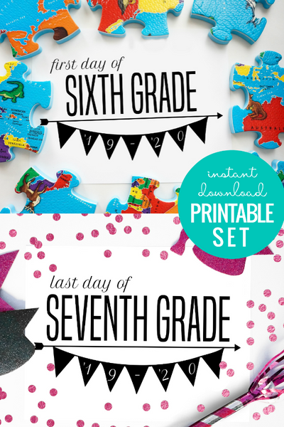 printable first day of school sign, last day of school sign, black and white bunting