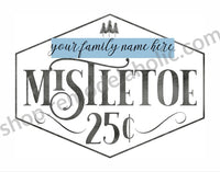Christmas Printable Mistletoe Art BUNDLE with Custom Family Name