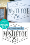 Christmas Printable Mistletoe Art with Custom Family Name