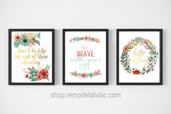 Inspiring Affirmations Floral Printable Set