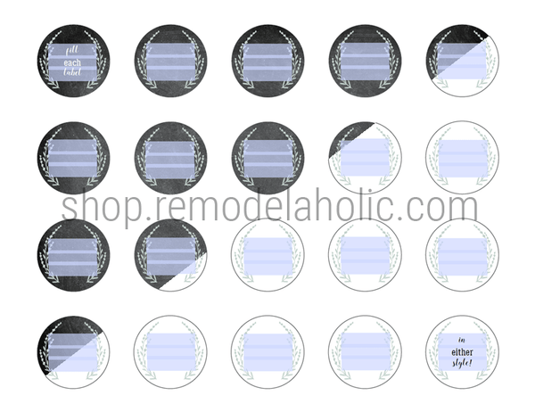 Custom Fillable Round Spice Labels for Jar Lids, Chalkboard or White Farmhouse Design
