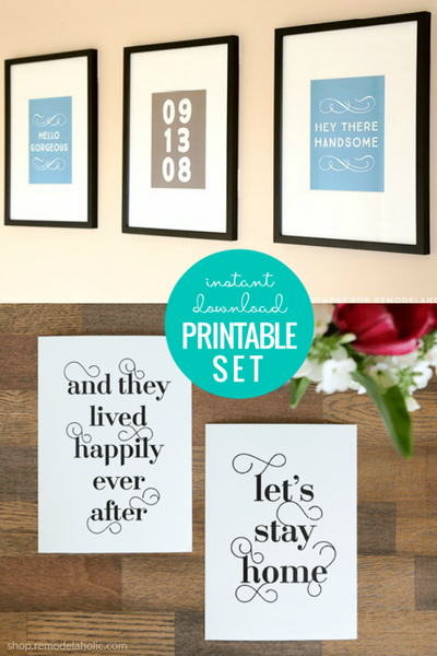 Typographic Word Art Printable Set for Couples