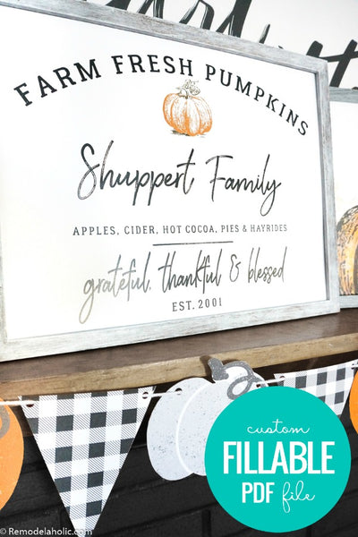 Personalized Family Pumpkin Patch Printable Art Set for Fall and Thanksgiving