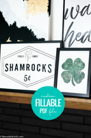 Personalized St. Patrick's Day Shamrock Printable Art Set