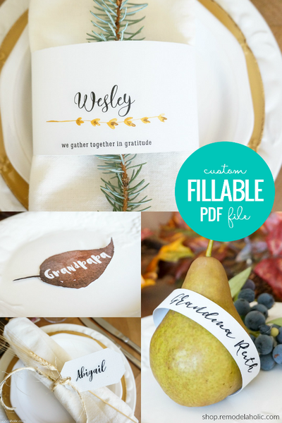 Custom Printable Place Card Set - Type Your Own Name Cards