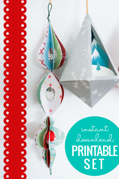 3D Paper Ornament Templates - Printable Christmas Decorations
