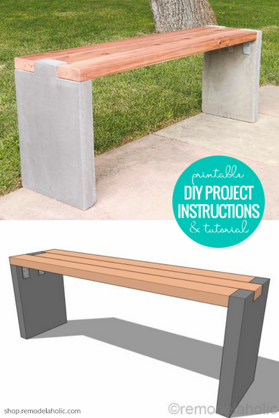 Modern DIY Outdoor Bench Plans - Redwood and Concrete