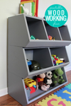 DIY cubby storage toy organizer, printable PDF woodworkign plans from Remodelaholic