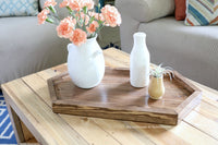 diy wood hexagon serving tray for coffee table, woodworking plans