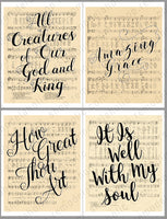 handlettered hymns on vintage sheet music art