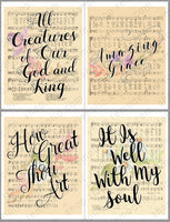 handlettered hymns on vintage sheet music art with watercolor flowers