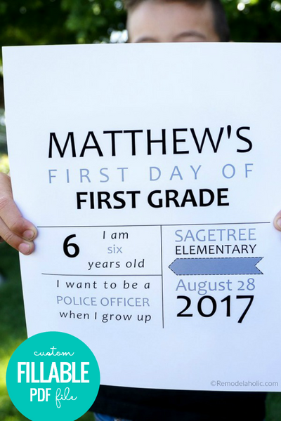 easy printable first day of school infographic sign card for photos