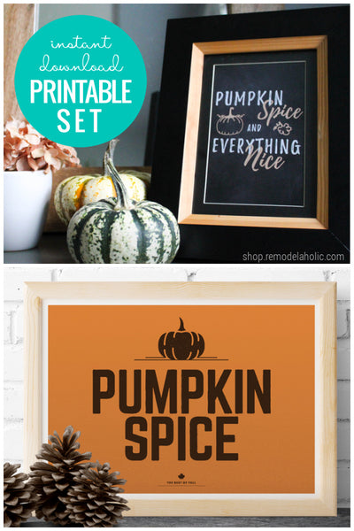 Pumpkin Spice and Everything Nice | Fall Printable Wall Art Bundle
