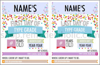 Editable Confetti Infographic First and Last Day of School Sign Set