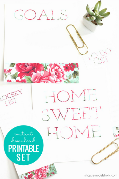 Home Sweet Home Floral Wall Art + Printable Lists