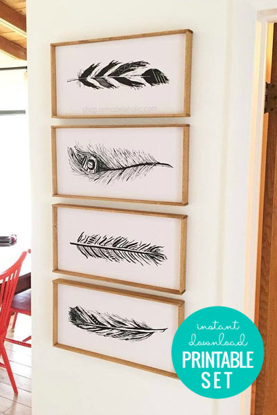 Hand-Drawn Feather Art Print Set in Three Colors