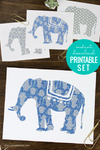 Blue Elephant Printable Decor Set