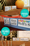 Custom Holiday Countdown Calendar Printable Set for Birthdays, Vacations, and More
