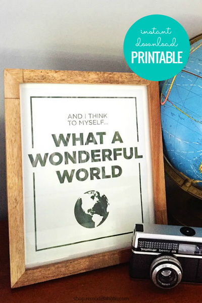 What a Wonderful World | Song Lyric Printable Wall Art