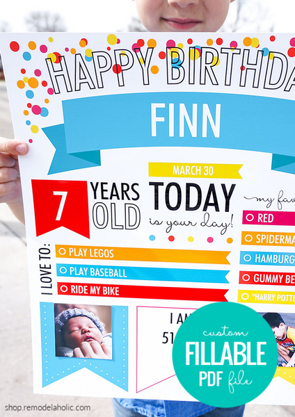 Custom Editable Infographic Birthday Poster Printable