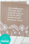 Grow Like a Wildflower Printable Wall Art