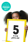 printable black and white numeral birthday sign set