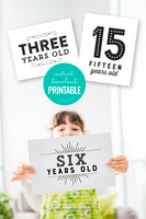 black and white printable birthday sign set with year ages