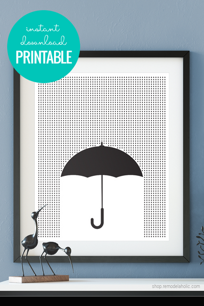 instant download printable wall art, modern black and white umbrella graphic